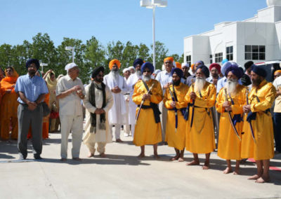 Panj Pyaras and Sangat waiting for the arrival of Sri Guru Granth Sahib Ji's 'sawari'