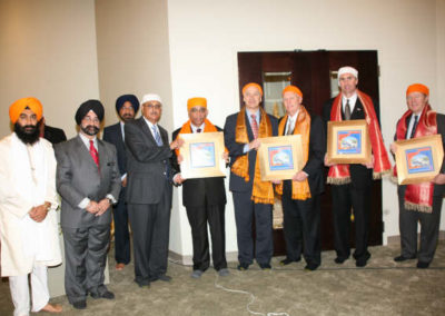 L to R: GSSWH Bhai Sahib, Bhai Sukhdev Singh, Trustee, Jasbir Singh, Secretary, Dr.Gill (rear), GSSWH Board of Trustees, Chairman, Prithvipal S Likhari, Consel General of India, Sanjiv Arora, Sugar Land Councilman, Michael Schiff, Mayor of Sugar Land, James P. Thompson, Congressman, Pete Olson, United States House of Representatives, and Harris County Judge, Ed Emmett